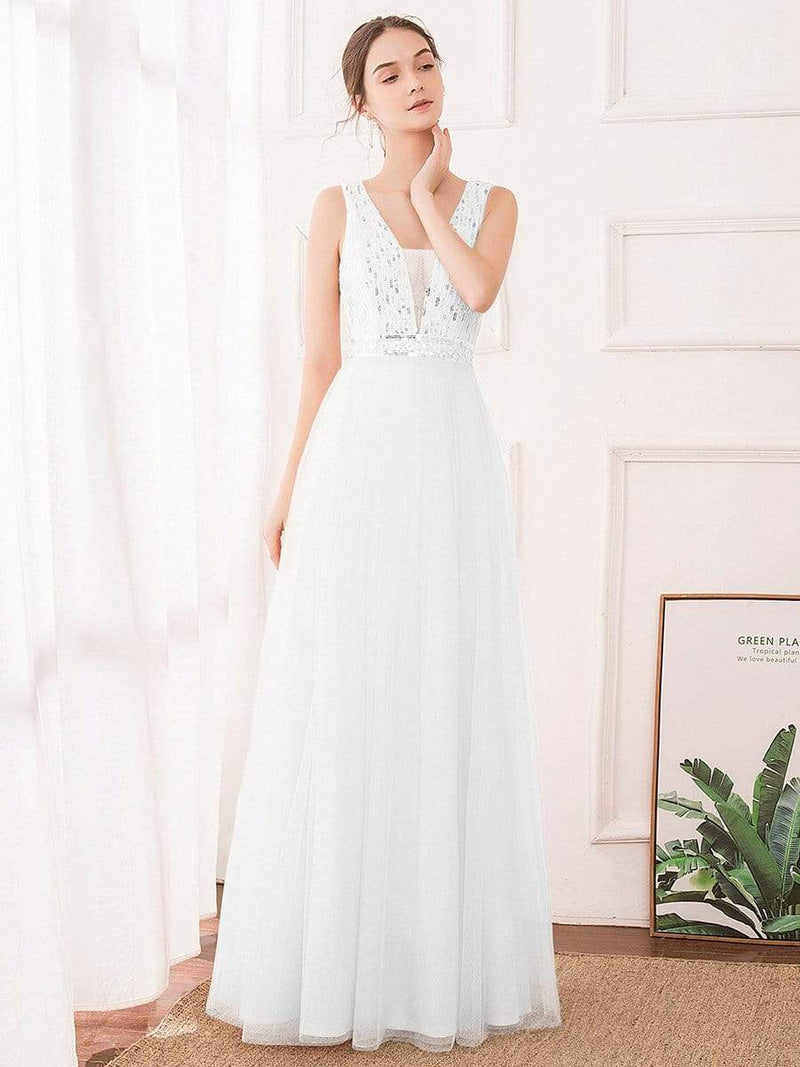 Women'S Fashion A-Line  Floor Length Bridesmaid Dress-Cream 4