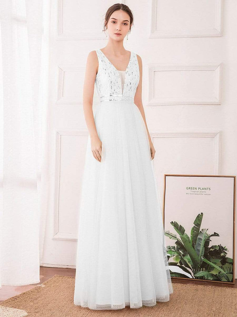 Women'S Fashion A-Line  Floor Length Bridesmaid Dress-Cream 1