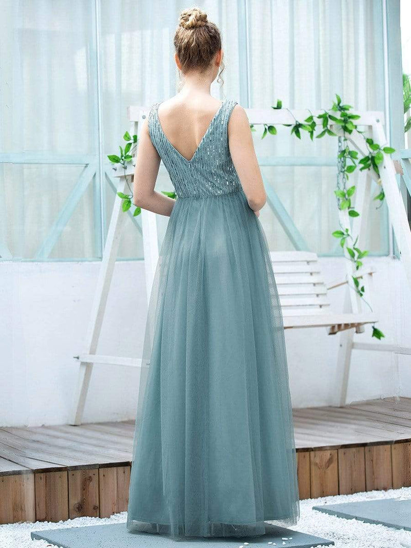 Women'S Fashion A-Line  Floor Length Bridesmaid Dress-Dusty Blue 2