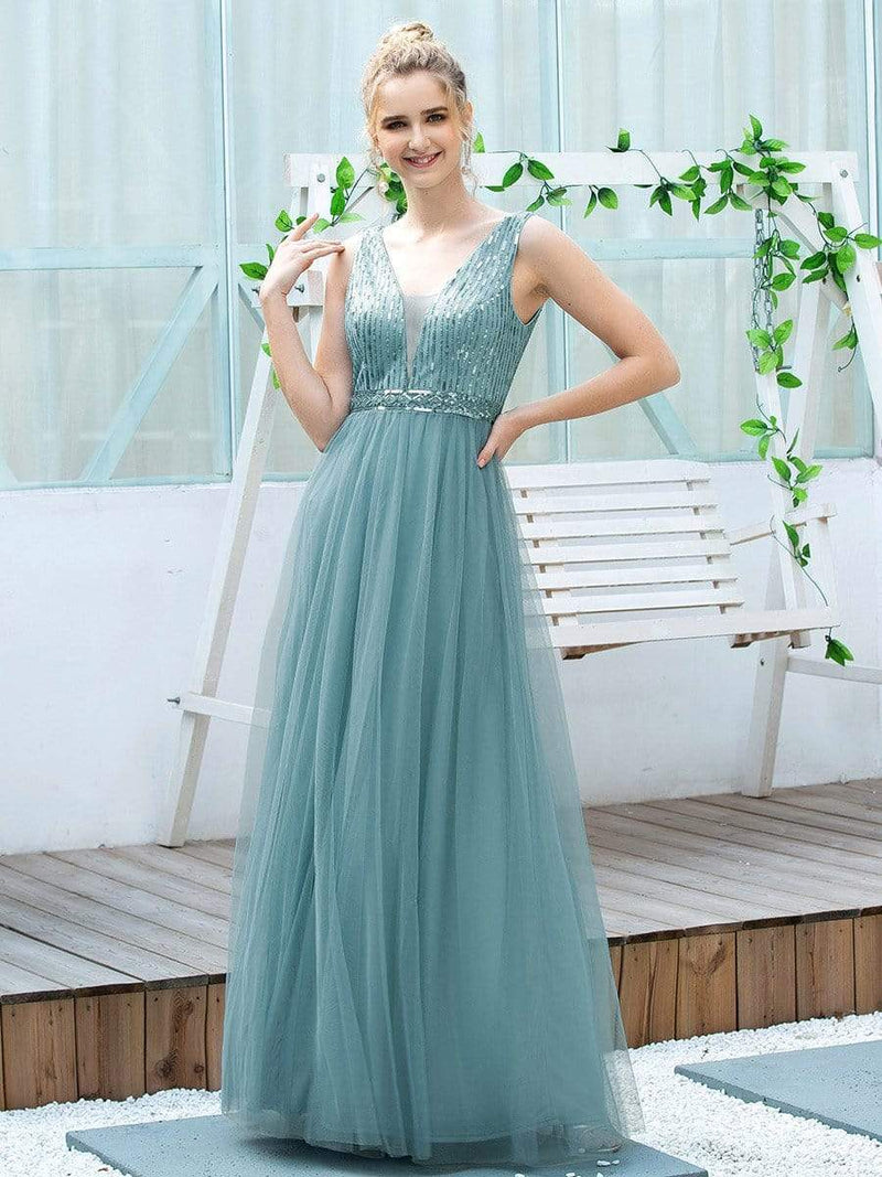 Women'S Fashion A-Line  Floor Length Bridesmaid Dress-Dusty Blue 3