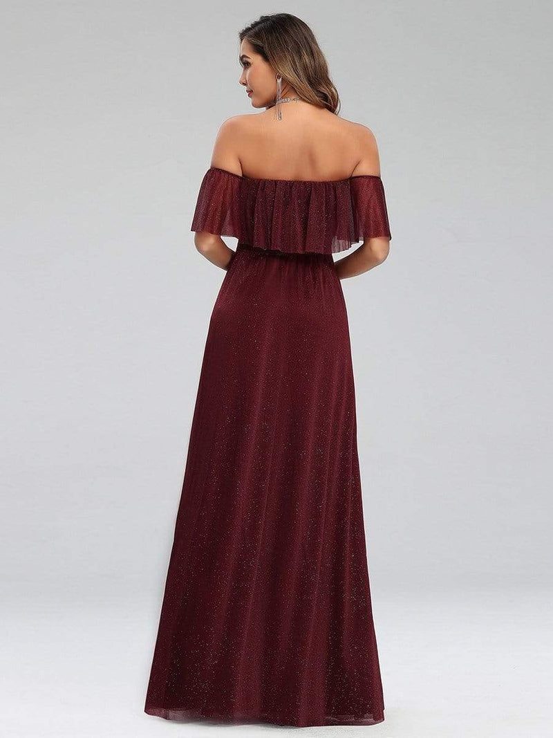 Fashion Off Shoulder Pleated Evening Dress-Burgundy 2