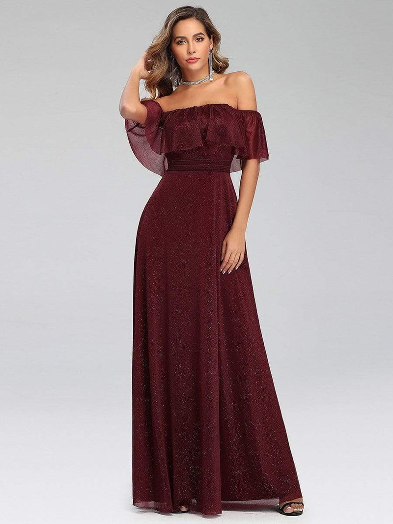 Fashion Off Shoulder Pleated Evening Dress-Burgundy 4