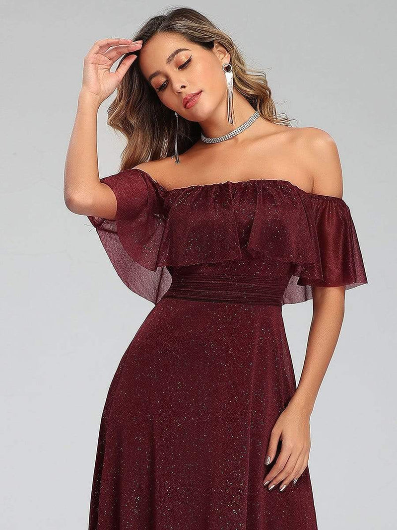 Fashion Off Shoulder Pleated Evening Dress-Burgundy 5