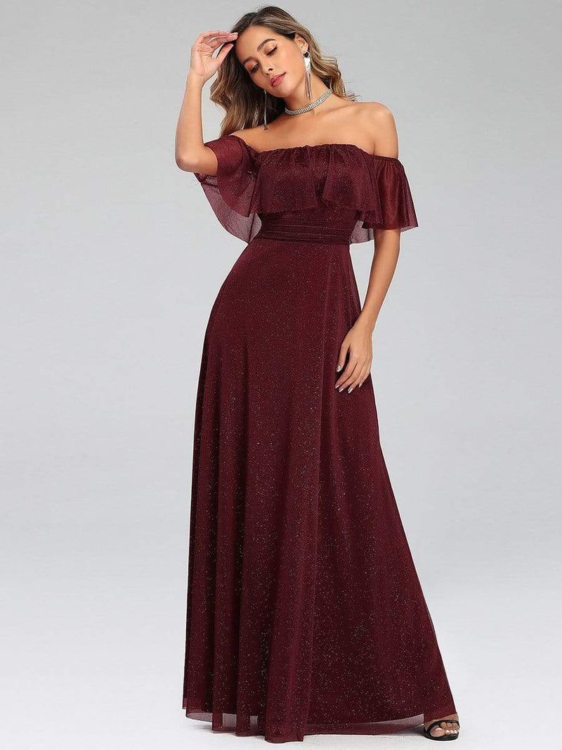 Fashion Off Shoulder Pleated Evening Dress-Burgundy 1
