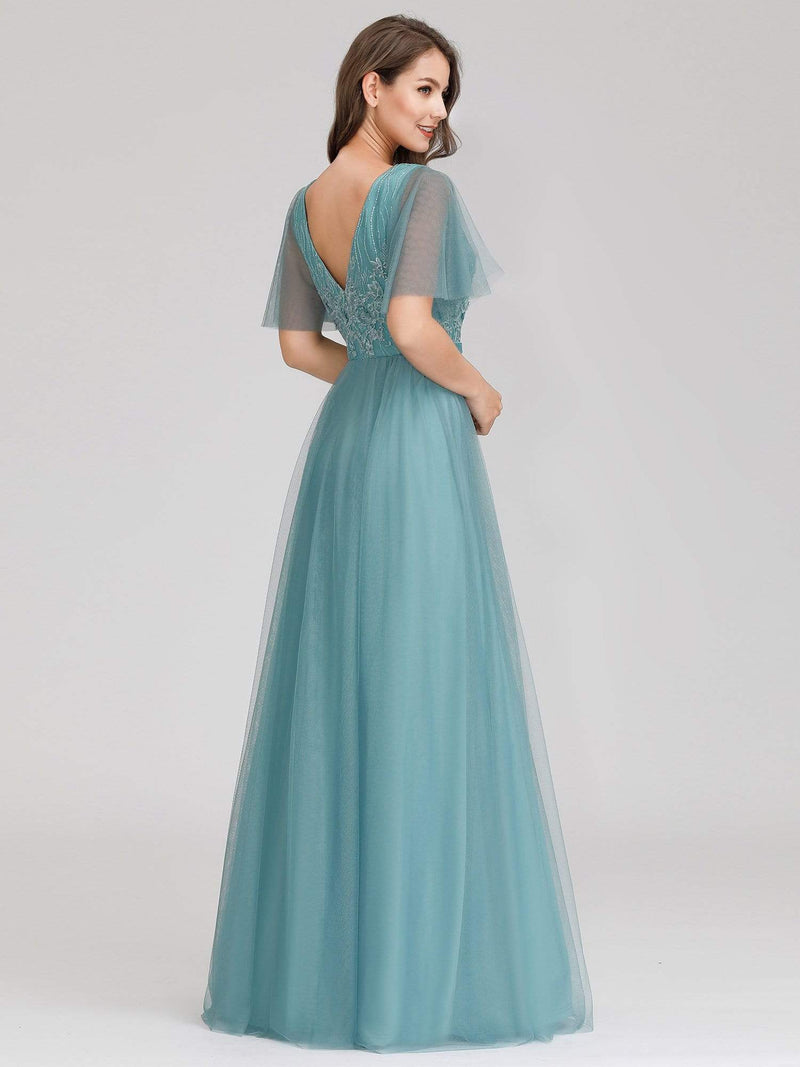 Romantic Deep V-Neck Ruffle Sleeves Embroidery Tulle Bridesmaid Dresses-Dusty Blue 2