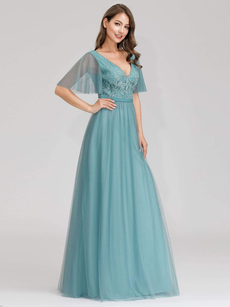 Romantic Deep V-Neck Ruffle Sleeves Embroidery Tulle Bridesmaid Dresses-Dusty Blue 3