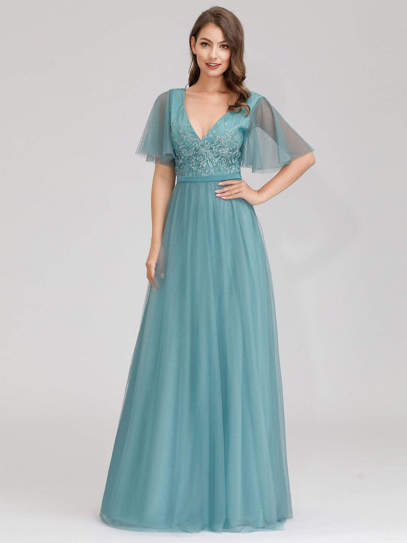 Romantic Deep V-Neck Ruffle Sleeves Embroidery Tulle Bridesmaid Dresses-Dusty Blue 4