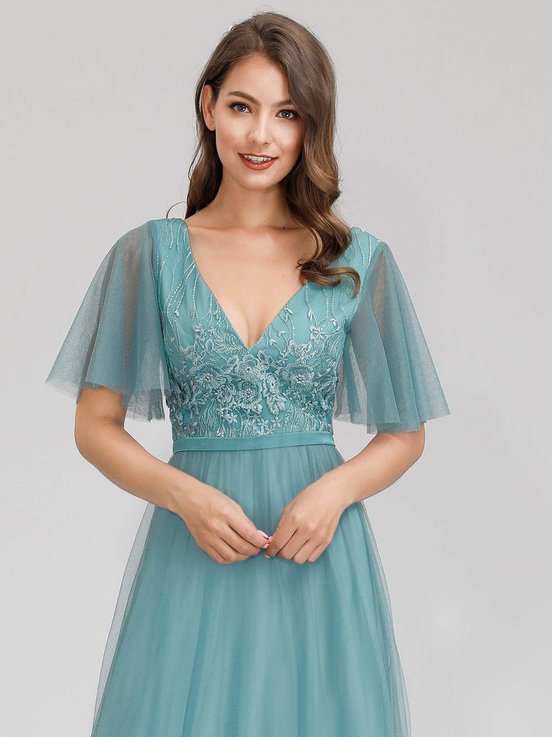 Romantic Deep V-Neck Ruffle Sleeves Embroidery Tulle Bridesmaid Dresses-Dusty Blue 5