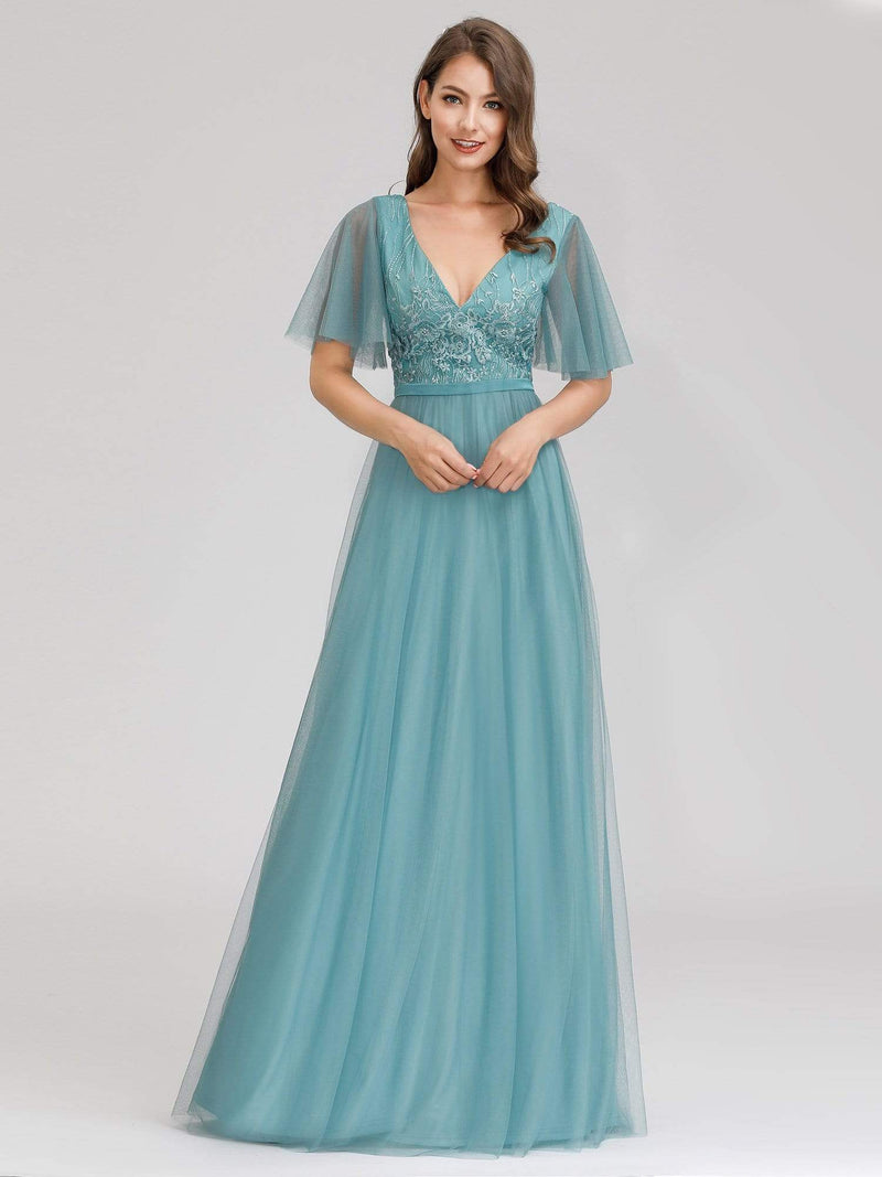 Romantic Deep V-Neck Ruffle Sleeves Embroidery Tulle Bridesmaid Dresses-Dusty Blue 1