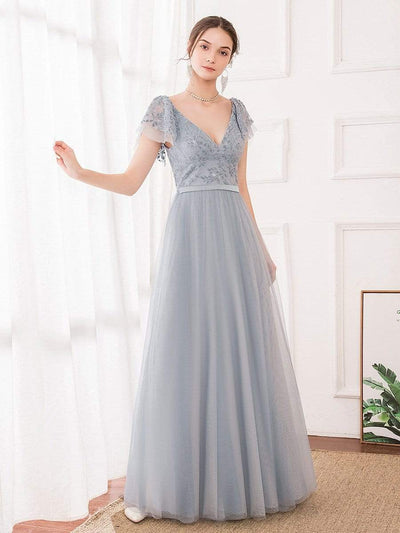 Deep V Neckline Ruffle Sleeve  A-Line Lace Tulle Bridesmaid Dresses