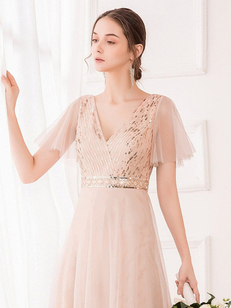 Maxi A-Line Cross V-neck Tulle Bridesmaid Dress with Sequin Stripes-Blush 5