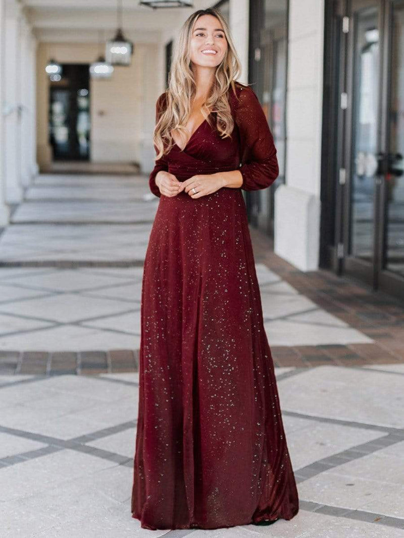 Women'S Sexy V-Neck Long Sleeve Evening Dress-Burgundy 3