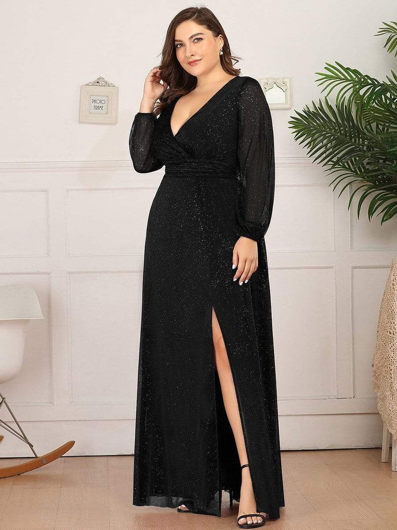 Women'S Sexy V-Neck Long Sleeve Evening Dress-Black 6