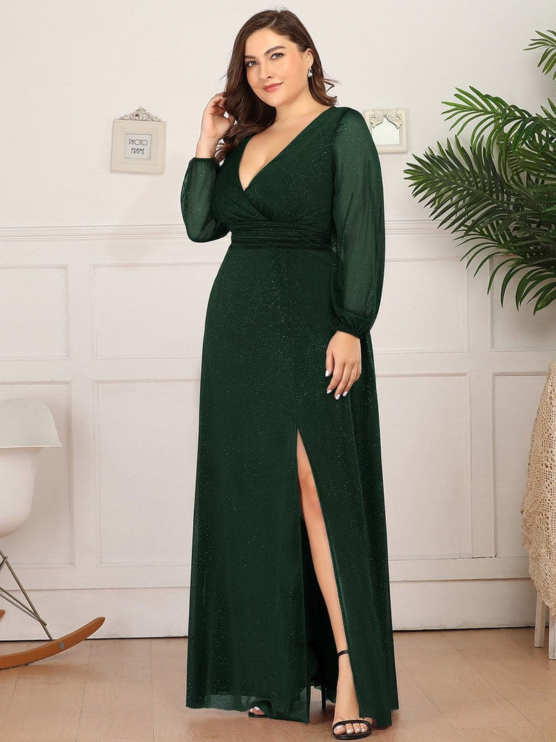 Women'S Sexy V-Neck Long Sleeve Evening Dress-Dark Green 6