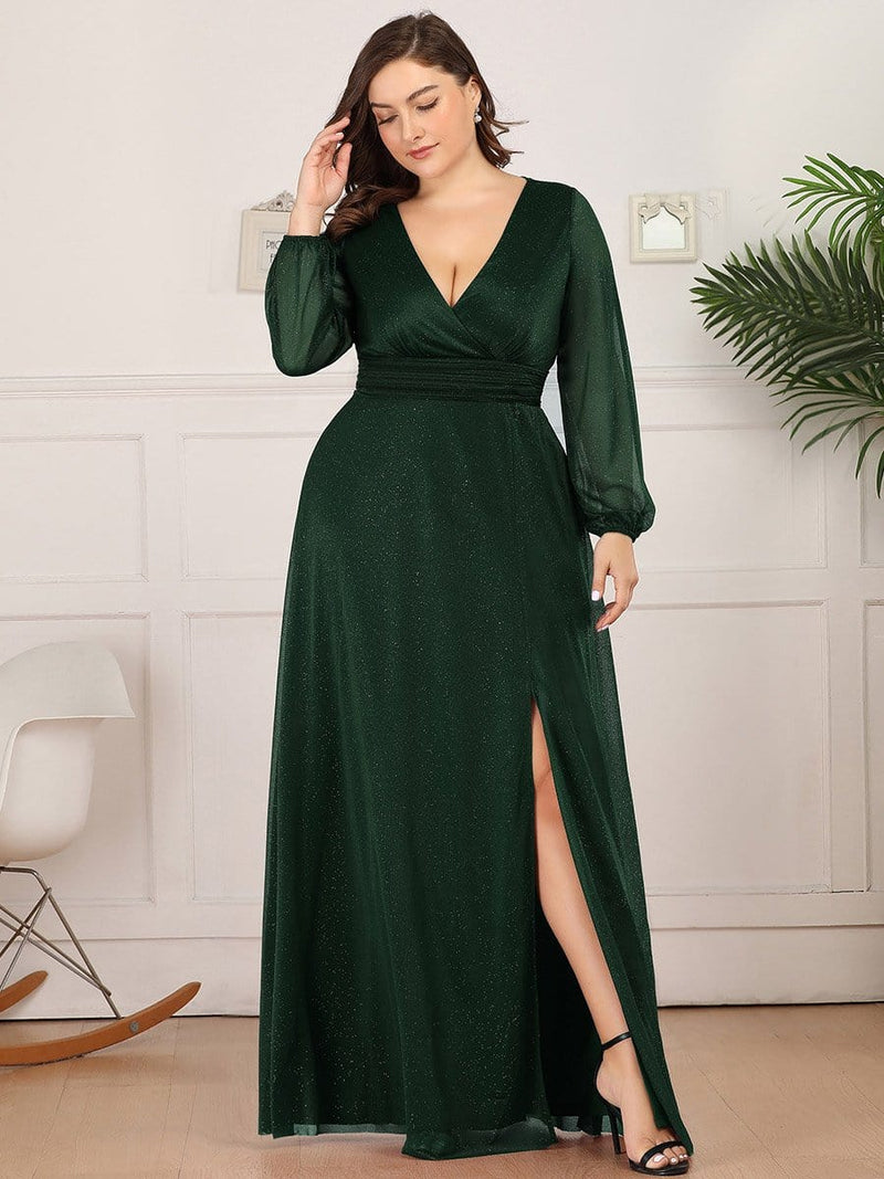Women'S Sexy V-Neck Long Sleeve Evening Dress-Dark Green 7