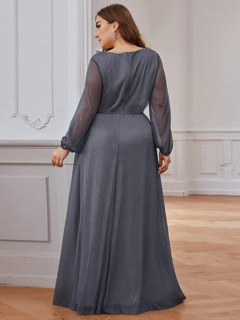 Women'S Sexy V-Neck Long Sleeve Evening Dress-Grey 7