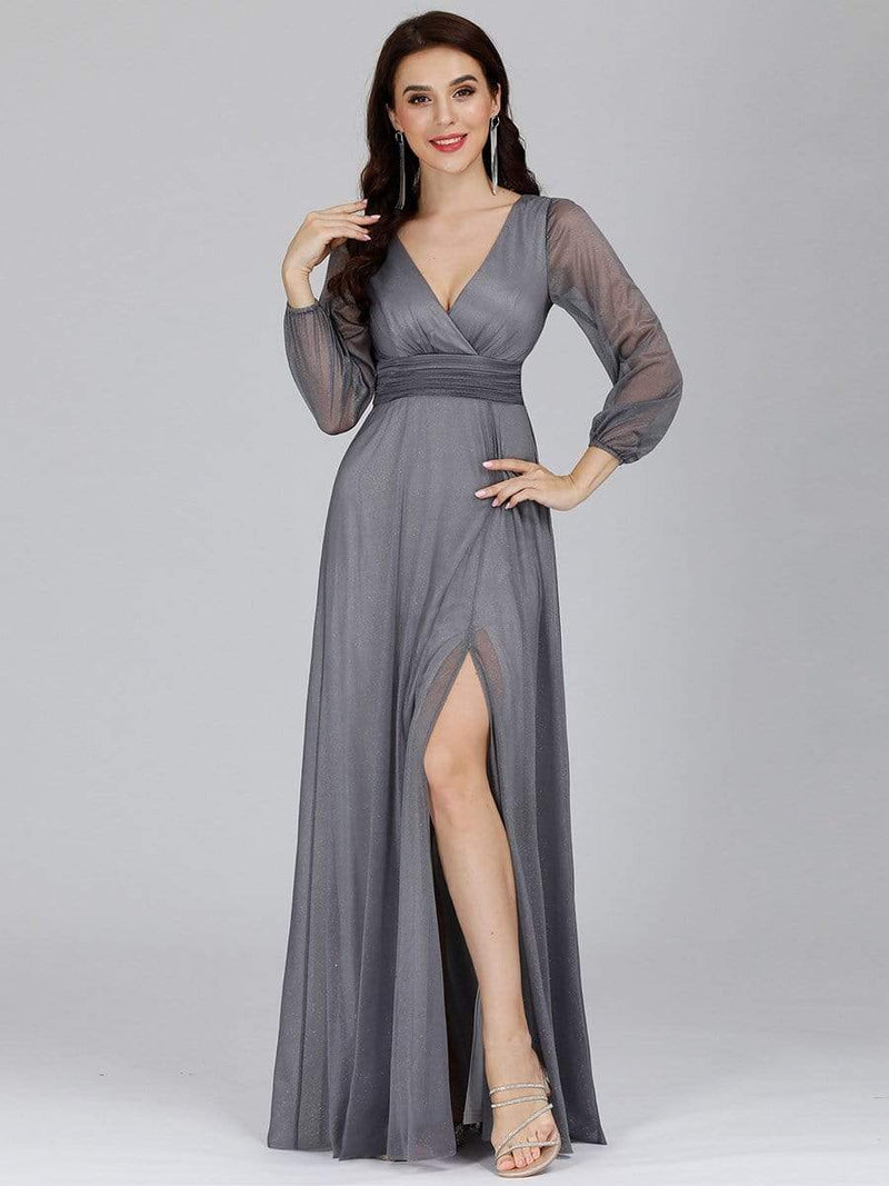 Women'S Sexy V-Neck Long Sleeve Evening Dress-Grey 4