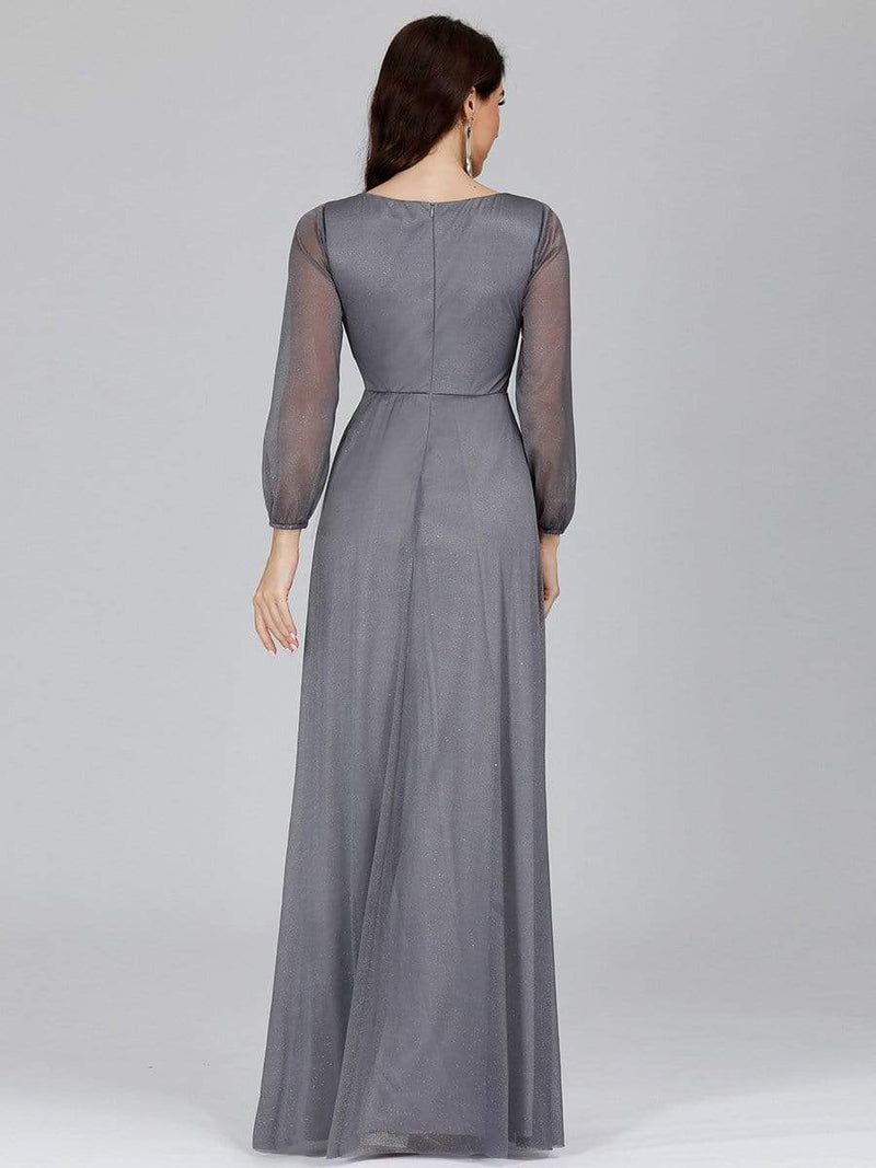 Women'S Sexy V-Neck Long Sleeve Evening Dress-Grey 5