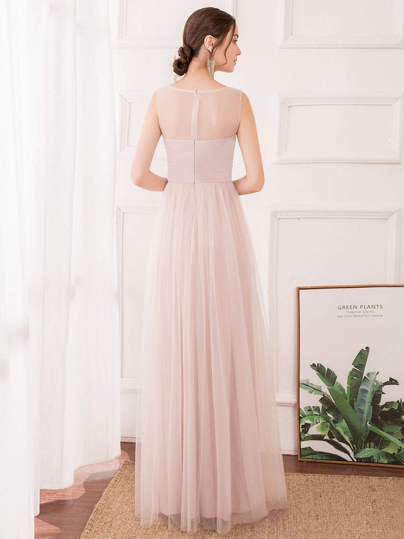 Romantic A-Line O-Neck Embroidery Tulle Bridesmaid Dress-Pink 2