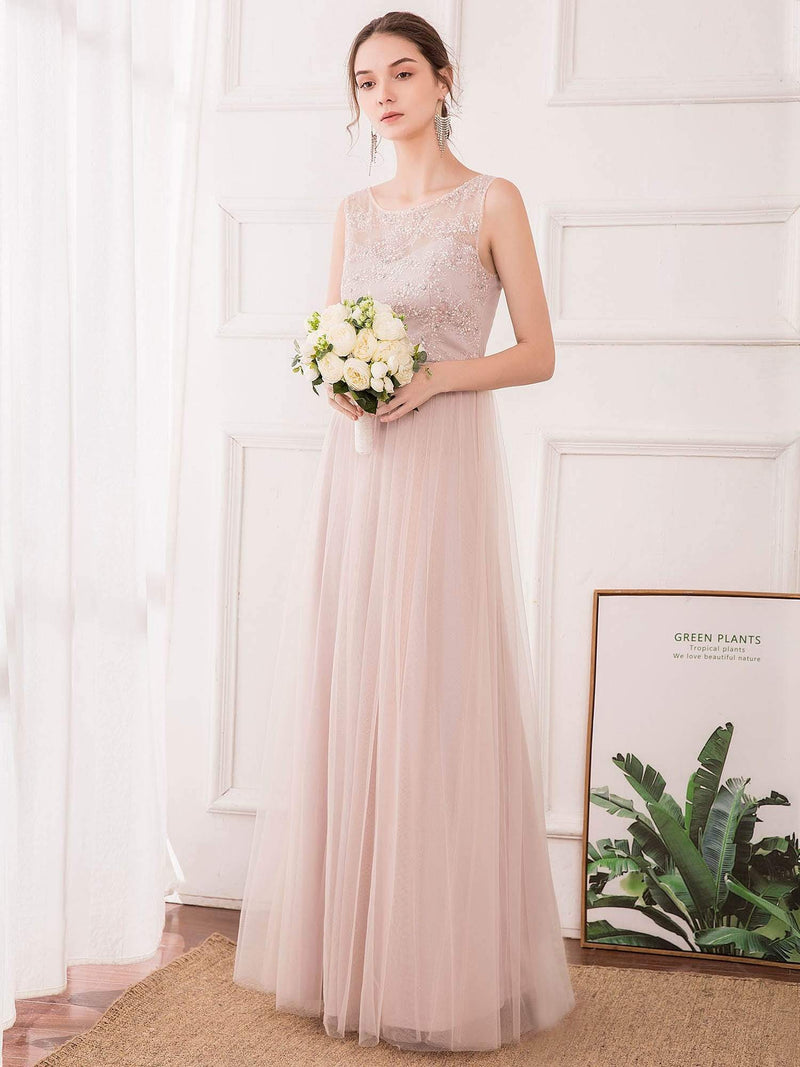 Romantic A-Line O-Neck Embroidery Tulle Bridesmaid Dress-Pink 3