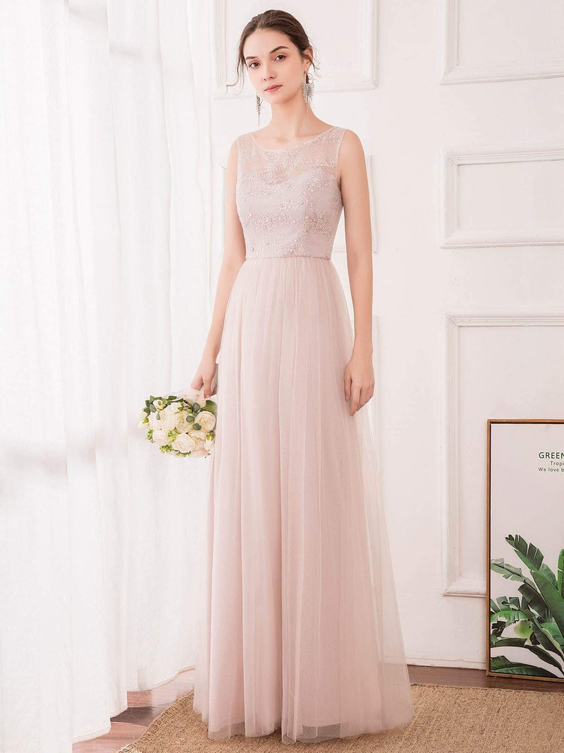 Romantic A-Line O-Neck Embroidery Tulle Bridesmaid Dress-Pink 4
