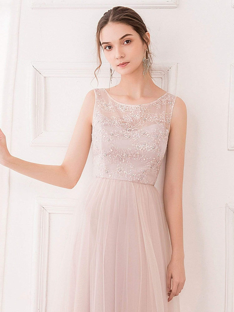 Romantic A-Line O-Neck Embroidery Tulle Bridesmaid Dress-Pink 5
