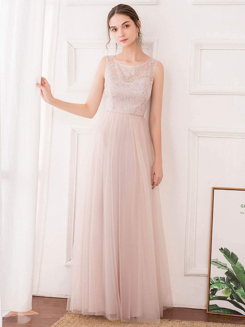 Romantic A-Line O-Neck Embroidery Tulle Bridesmaid Dress-Pink 1