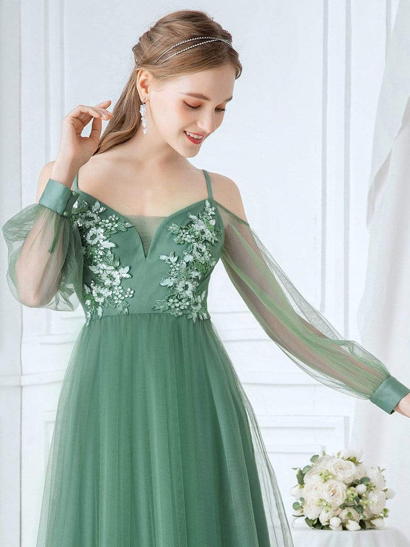 Romantic Spaghetti Straps Sheer Sleeves Applique Tulle Bridesmaid Dresses-Green Bean 5