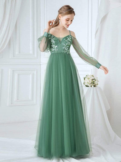 Romantic Spaghetti Straps Sheer Sleeves Applique Tulle Bridesmaid Dresses