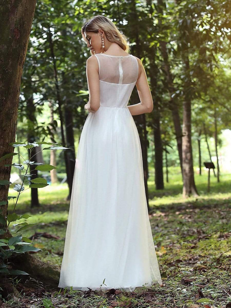 Elegant Round Neck Tulle Applique Bridesmaid Dress-Cream 3