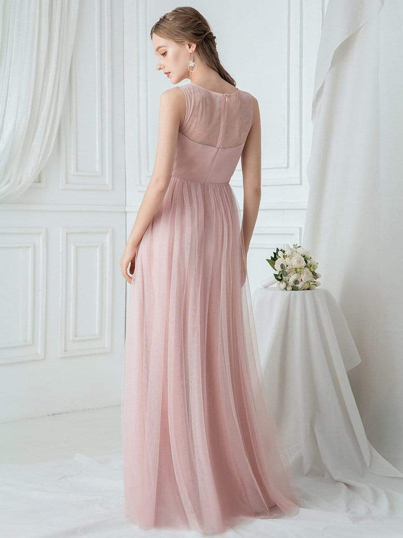 Elegant Round Neck Tulle Applique Bridesmaid Dress-Pink 2