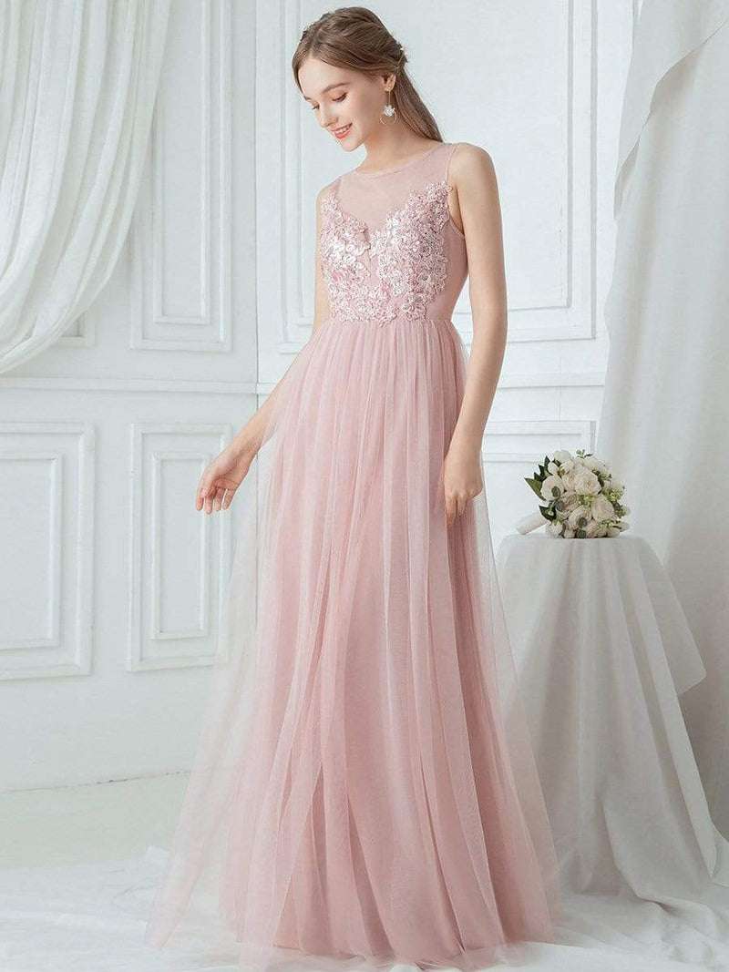 Elegant Round Neck Tulle Applique Bridesmaid Dress-Pink 3