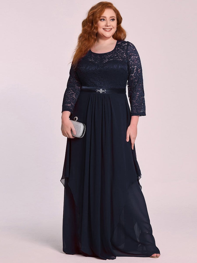 Classic Floal Lace Long Sleeve Bridesmaid Dress-Navy Blue 5