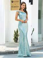 Sexy Sequined One Shoulder Mermaid Evening Dress
