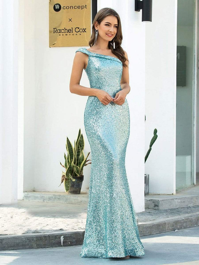 Shiny One Shoulder Fishtail Sequin Formal Evening Dress-Dusty Blue 1