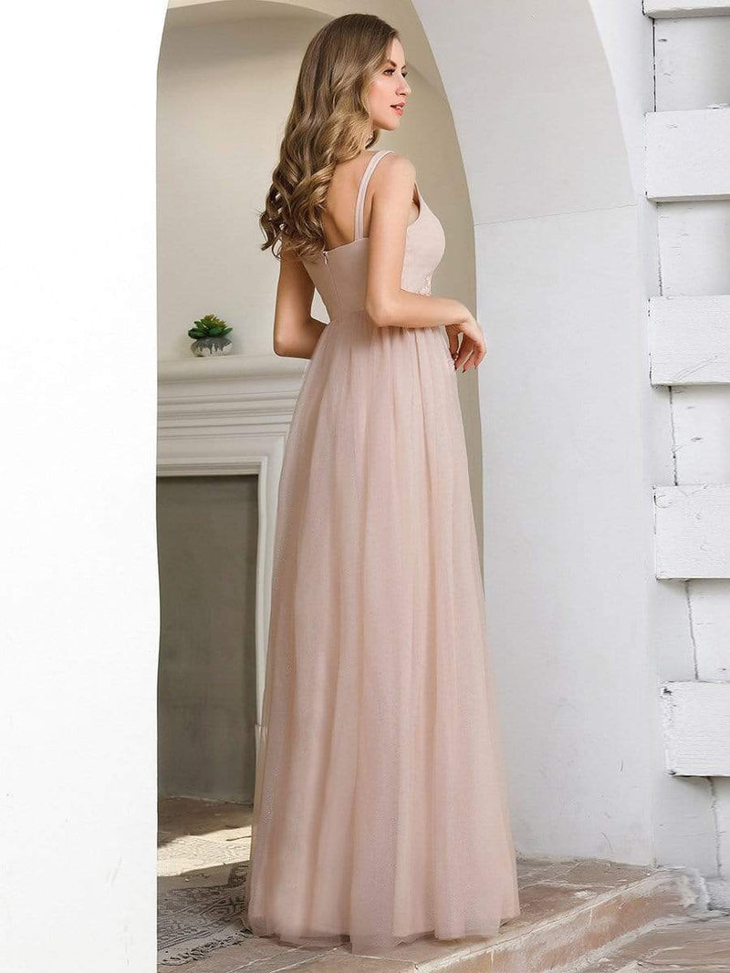 Fashion V Neckline A-Line Tulle Bridesmaid Dresses With Floral Appliques-Pink 2