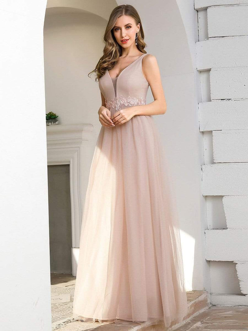 Fashion V Neckline A-Line Tulle Bridesmaid Dresses With Floral Appliques-Pink 3