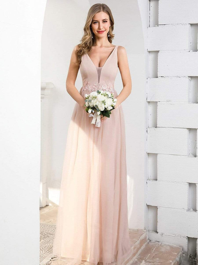 Fashion V Neckline A-Line Tulle Bridesmaid Dresses With Floral Appliques-Pink 4