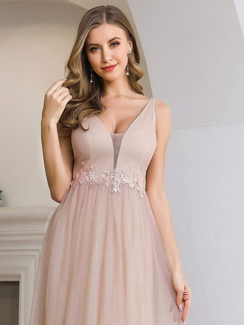 Fashion V Neckline A-Line Tulle Bridesmaid Dresses With Floral Appliques-Pink 5