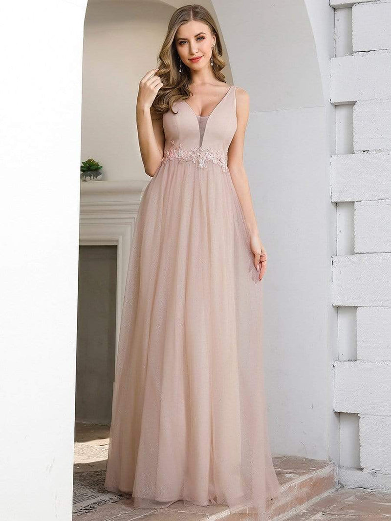 Fashion V Neckline A-Line Tulle Bridesmaid Dresses With Floral Appliques-Pink 1