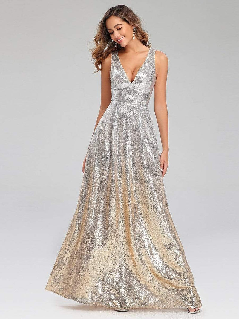 Deep V Neck A-Line Sleeveless Sequin Evening Dresses-Silver 4