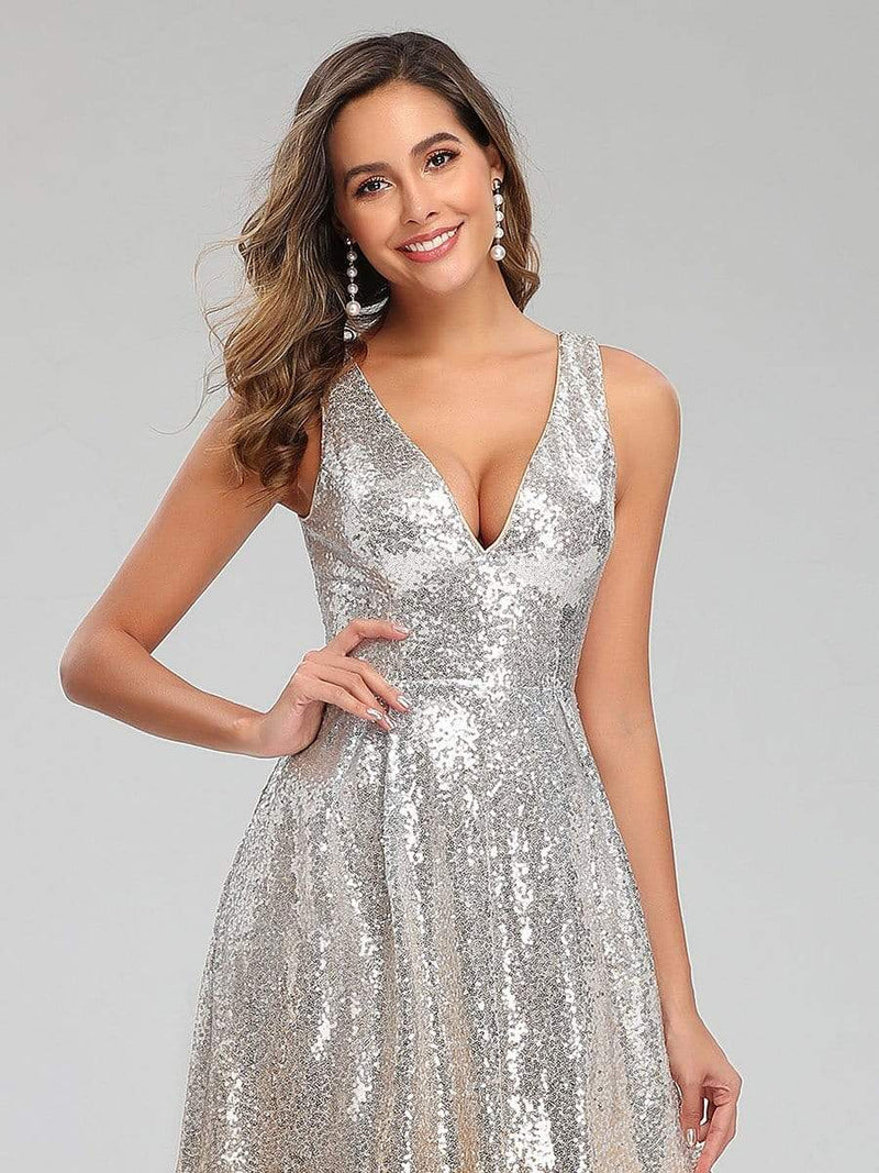 Deep V Neck A-Line Sleeveless Sequin Evening Dresses-Silver 5