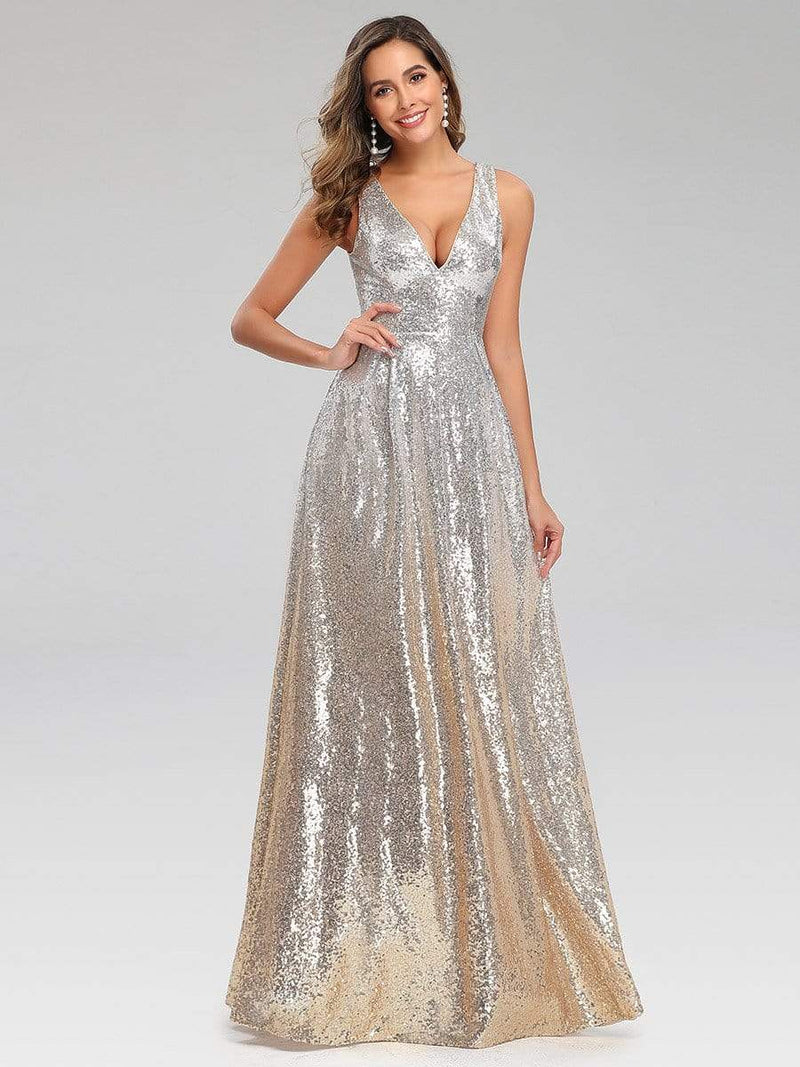 Deep V Neck A-Line Sleeveless Sequin Evening Dresses-Silver 1