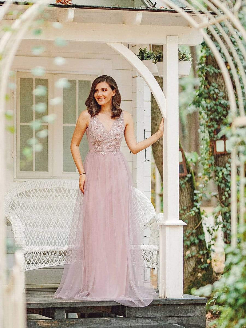 Floral Appliqued V Neck Floor Length Tulle Bridesmaid Dress-Pink 8