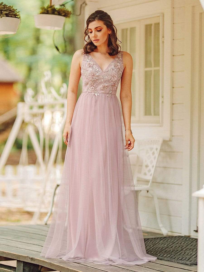 Floral Appliqued V Neck Floor Length Tulle Bridesmaid Dress-Pink 11