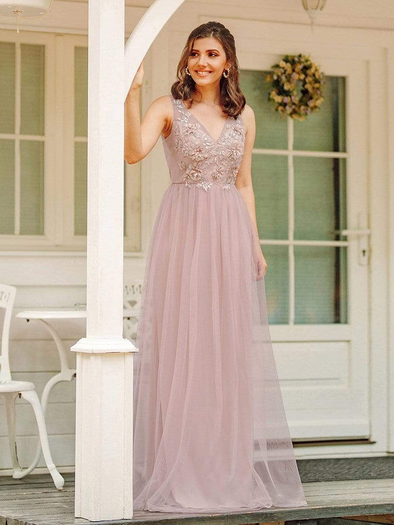 Floral Appliqued V Neck Floor Length Tulle Bridesmaid Dress-Pink 1