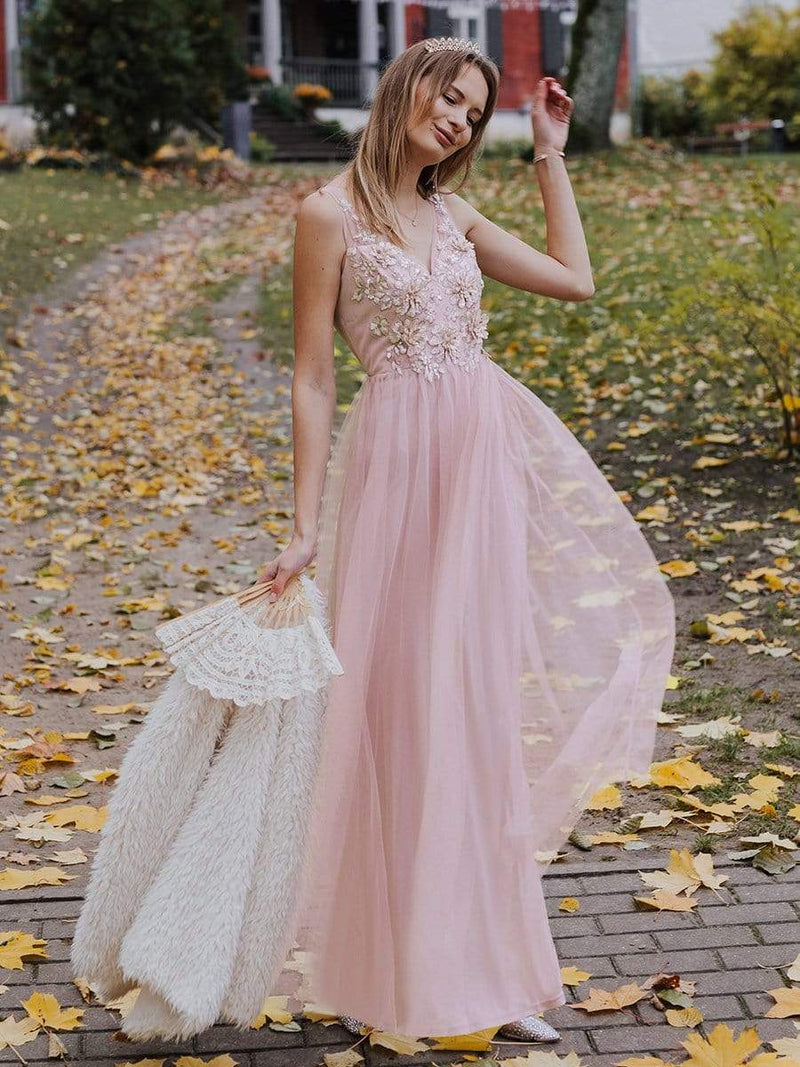 Floral Appliqued V Neck Floor Length Tulle Bridesmaid Dress-Pink 4