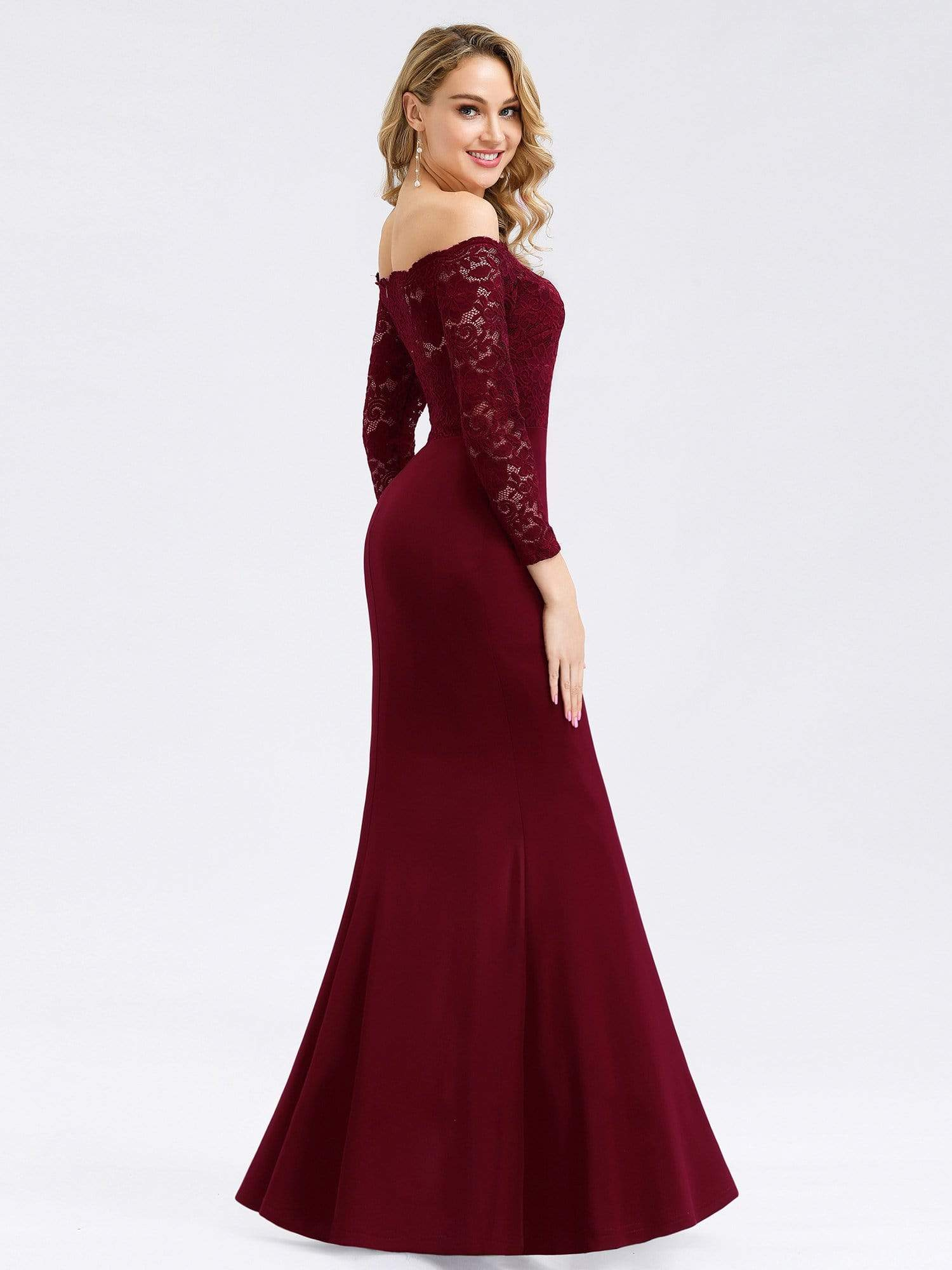 Plus Size Prom Dresses With Long Sleeve Velvet V Neck Floor Length Ever Pretty Us
