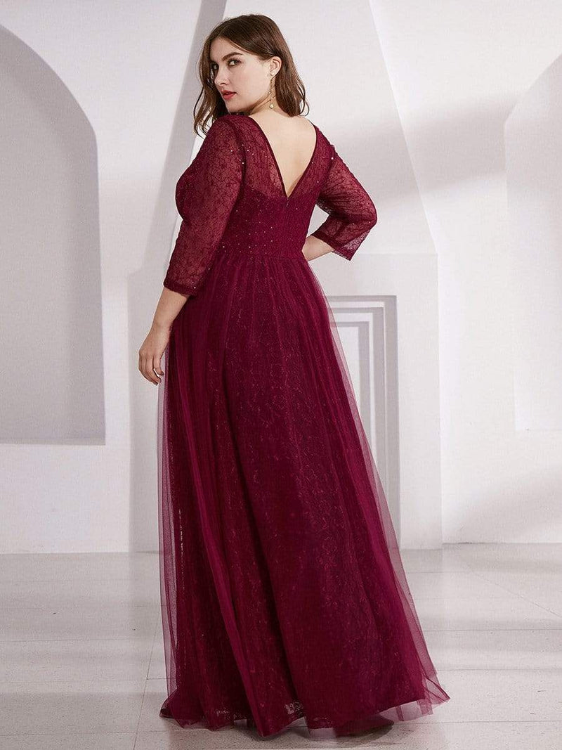 Women'S V-Neck 3/4 Sleeve Lace Wedding Dress-Burgundy 12