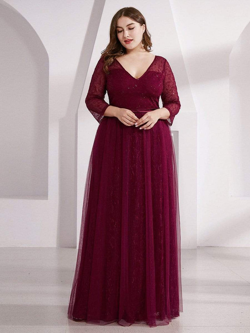 Women'S V-Neck 3/4 Sleeve Lace Wedding Dress-Burgundy 11